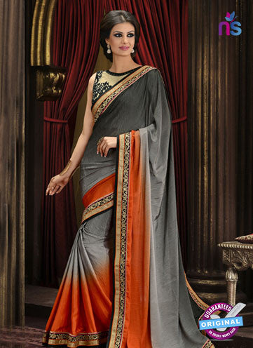 AZ 3296 Grey and Orange Silk Party Wear Saree