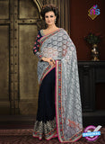 AZ 3297 Blue and Grey Georgette Party Wear Saree