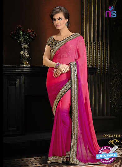 AZ 3298 Pink Chiffon Party Wear Saree