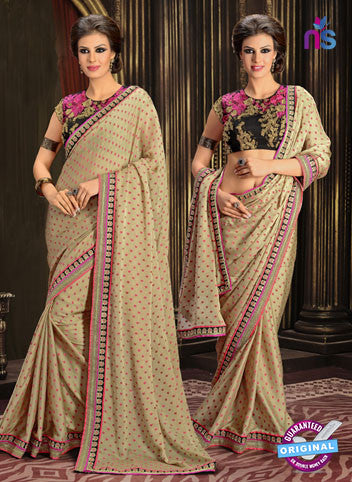 AZ 3299 Beige Chiffon Party Wear Saree