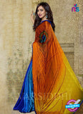 SC 13190 Orange and Blue Designer Saree