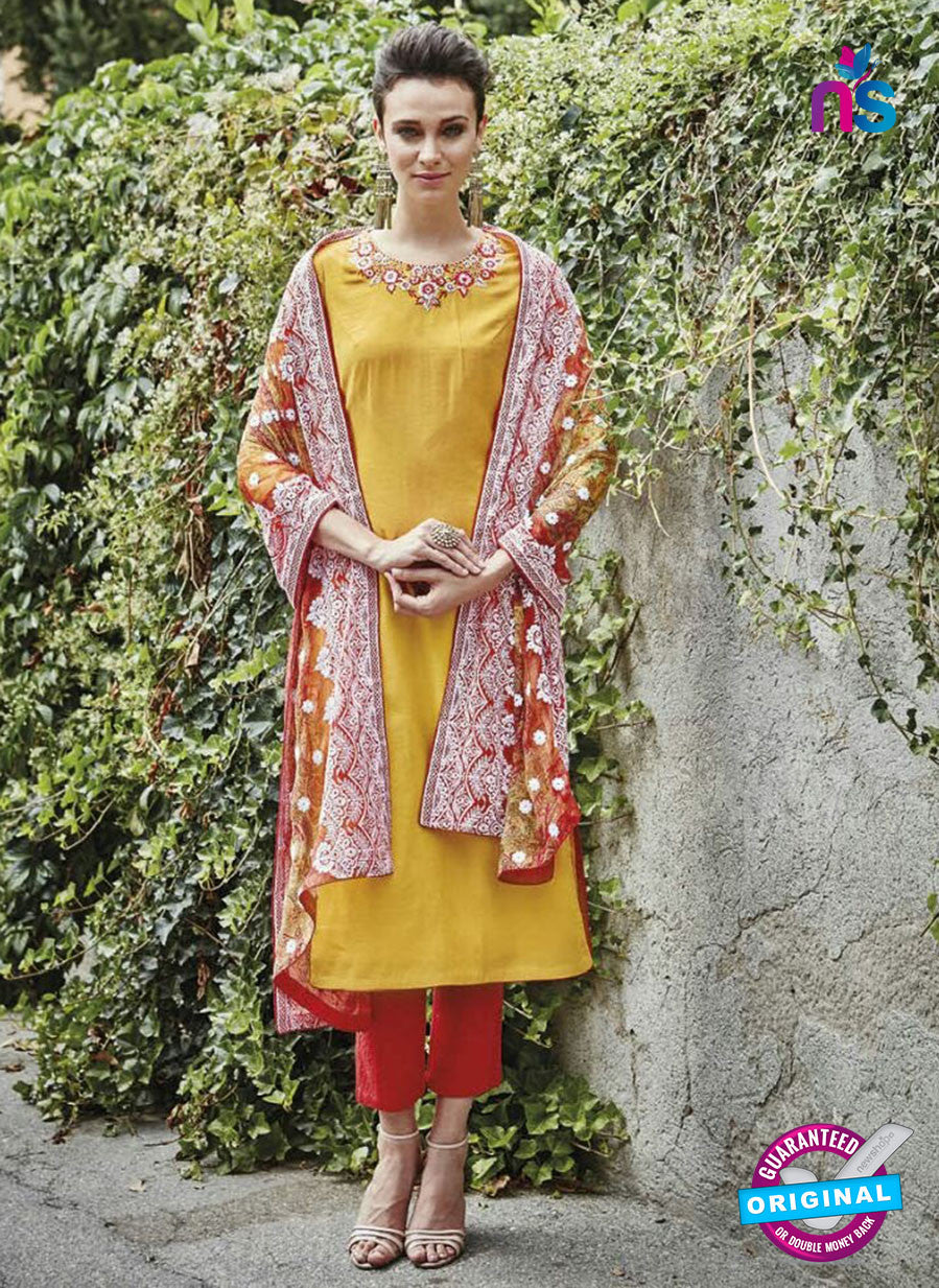 Bahni 9122 Yellow & Red Color Cotton Designer Suit