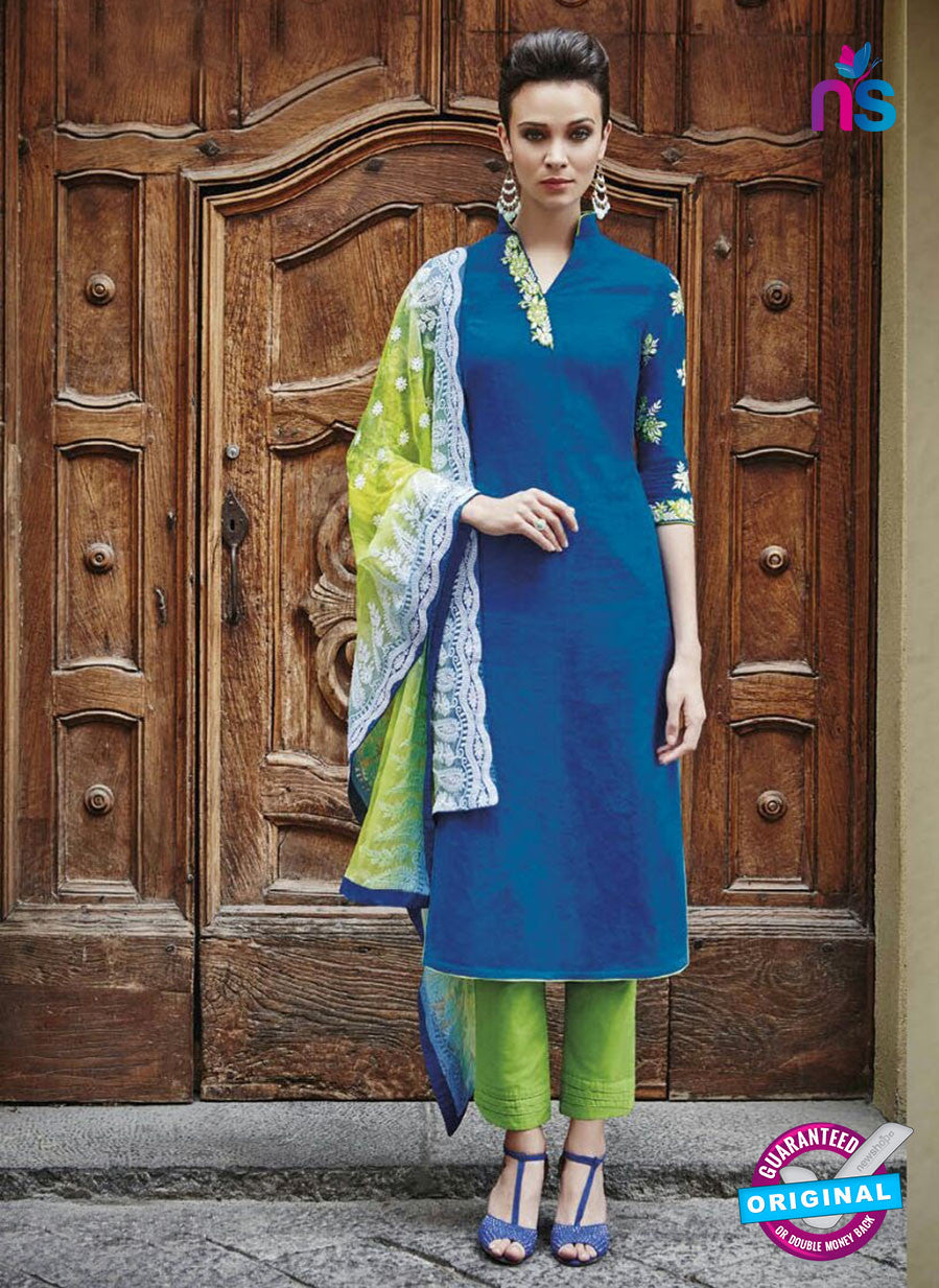 Bahni 9124 Green & Blue Color Cotton Designer Suit