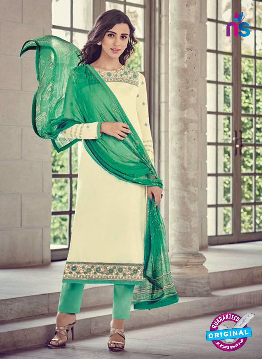 Bahni 9134 Beige and Green Color Glace Cotton Plazo Suit