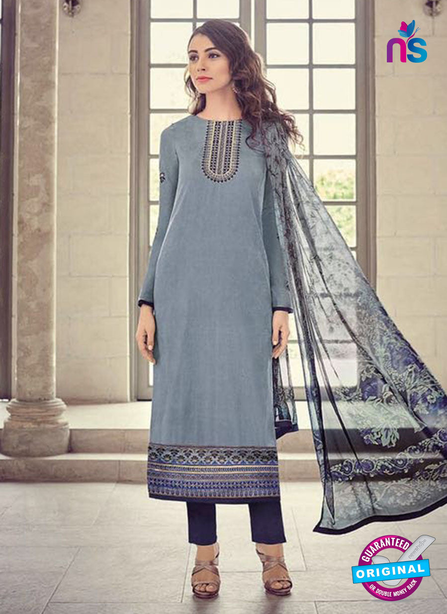 Bahni 9140 Grey and Blue Color Glace Cotton Plazo Suit