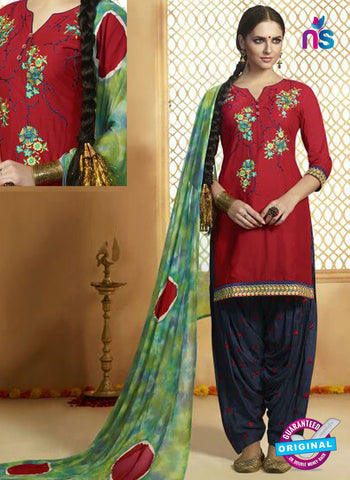 Kessi 9159 Red Cotton Patiala Suit