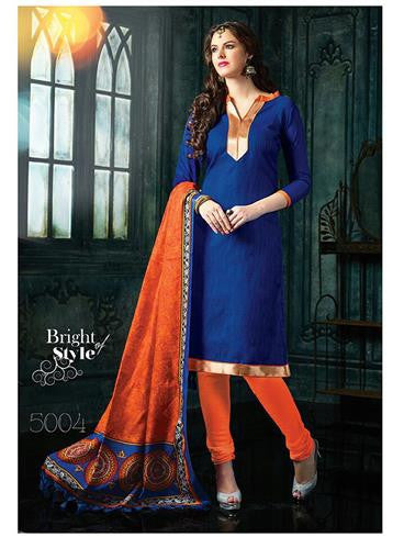 NS11455 Blue and Orange Banarasi Jacquard Daily Wear Straight Suit