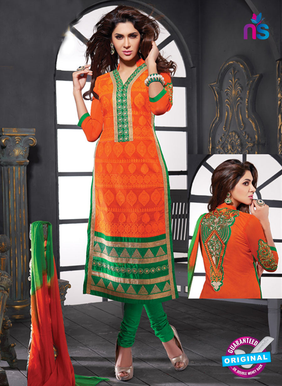 NS10628 Orange and Green Cotton Straight suit