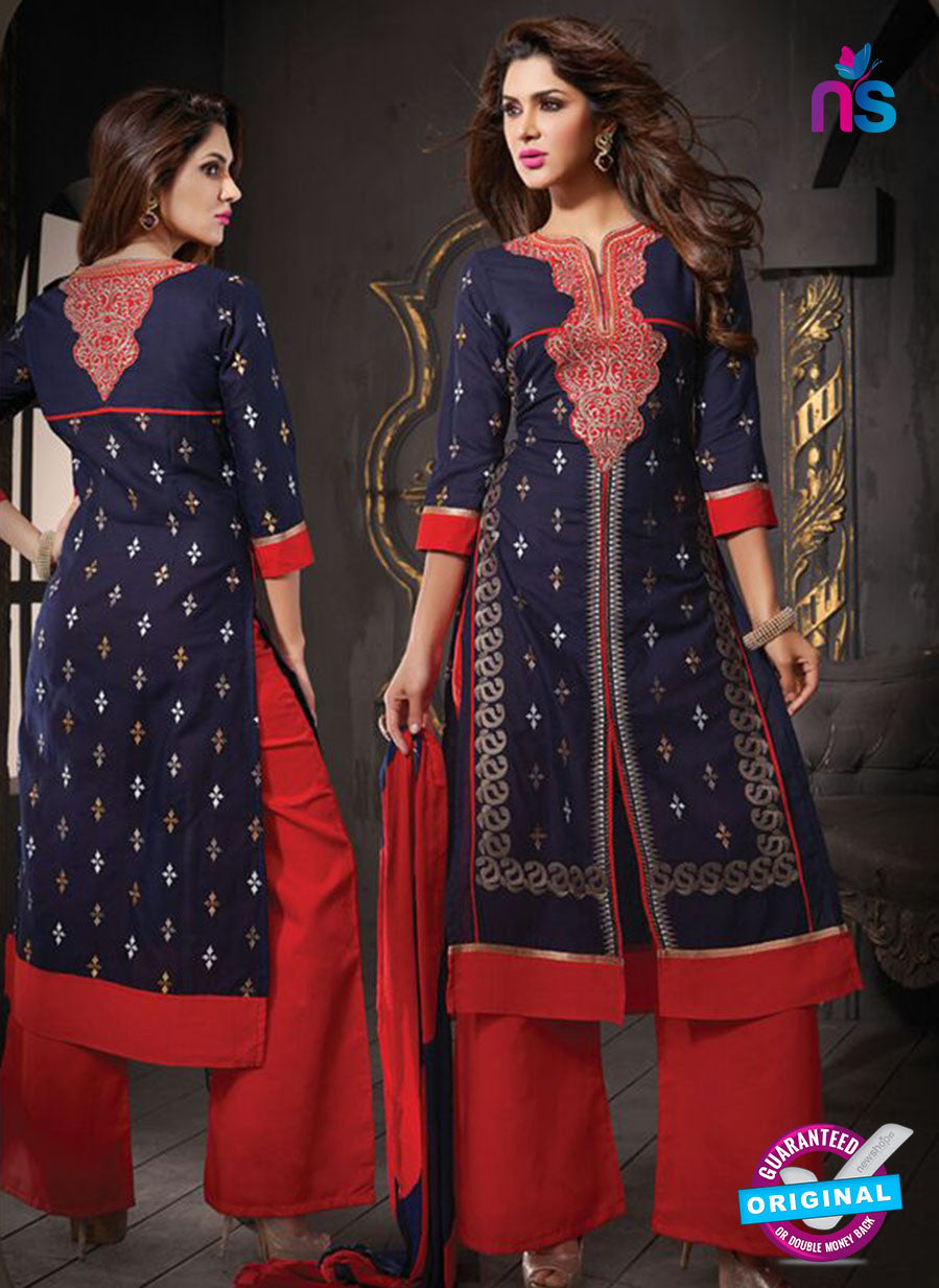NS10804 Dark Blue and Red Cotton Designer Straight Suit