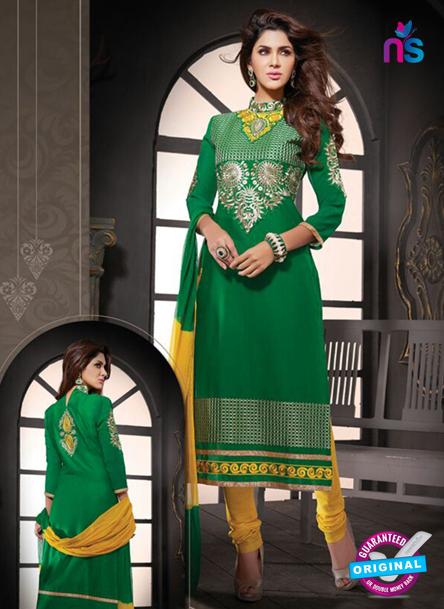 NS10803 Green and Yellow Cotton Designer Straight Suit