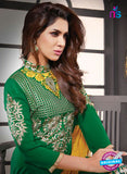 NS10803 Green and Yellow Cotton Designer Straight Suit Online