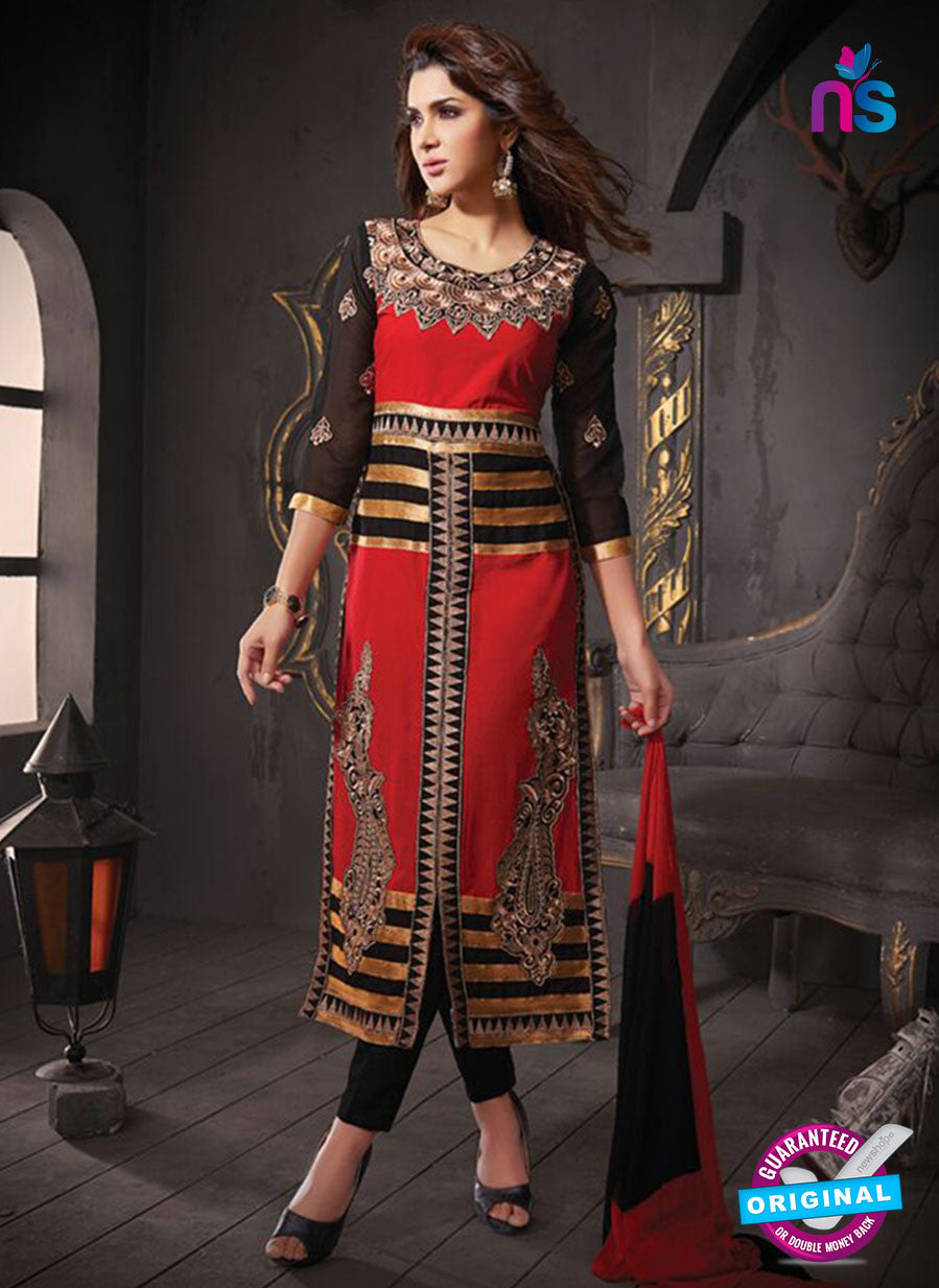 NS10805 Red and Black Cotton Designer Straight Suit
