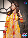 NS10807 Yellow and Red Cotton Designer Straight Suit Online