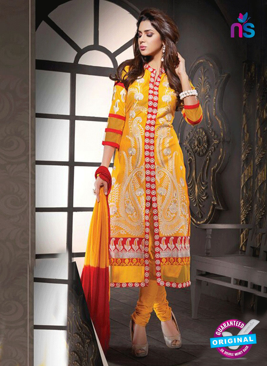 NS10807 Yellow and Red Cotton Designer Straight Suit