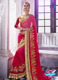 AZ 2045 Pink and Red jacquard Georgette Fancy Party Wear Saree