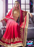 AZ 2045 Pink and Red jacquard Georgette Fancy Party Wear Saree Online
