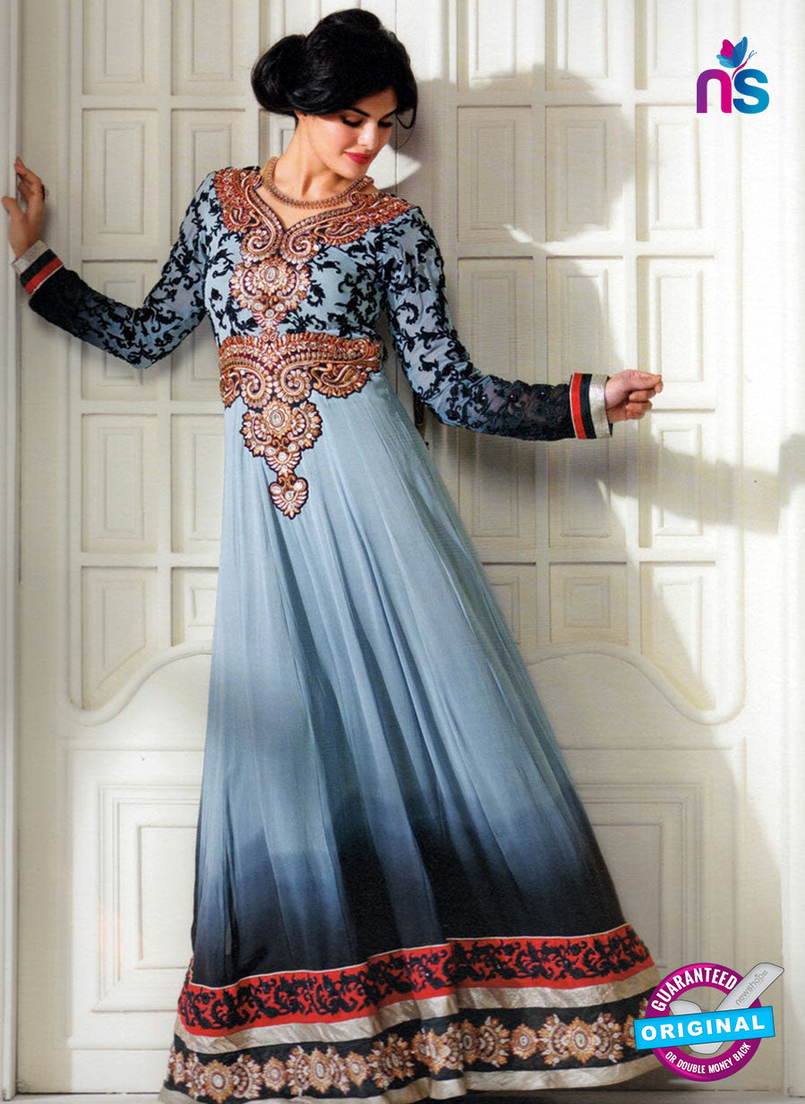 NS 12401 Gray and Black Embroidered Georgette Party Wear Straight Anarkali Suit