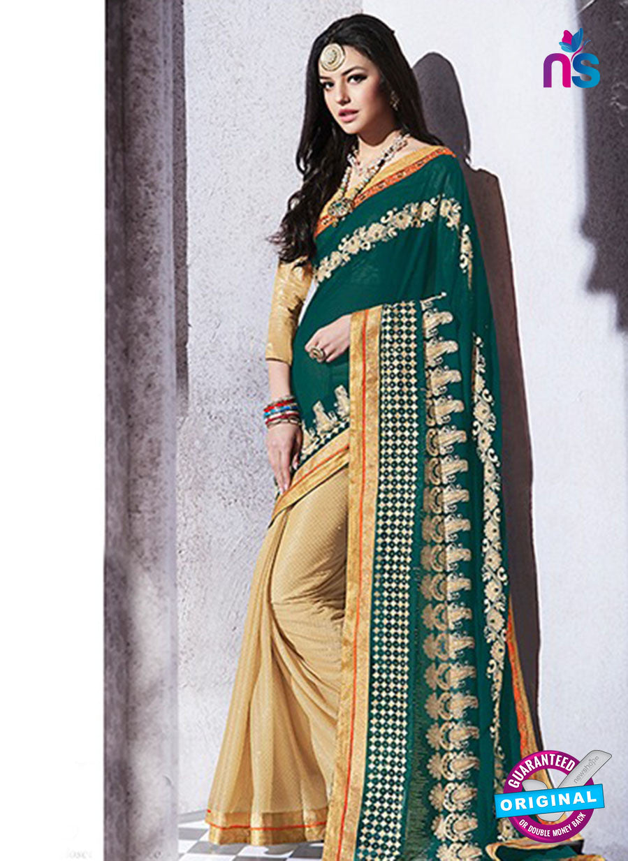 AZ 2046 Green and Beige jacquard Georgette Fancy Party Wear Saree