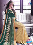 AZ 2046 Green and Beige jacquard Georgette Fancy Party Wear Saree Online