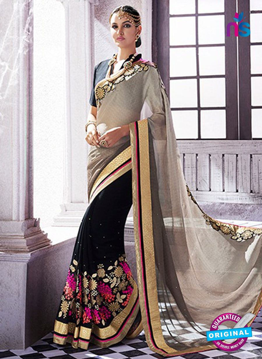 AZ 2047 Black jacquard Georgette Fancy Party Wear Saree