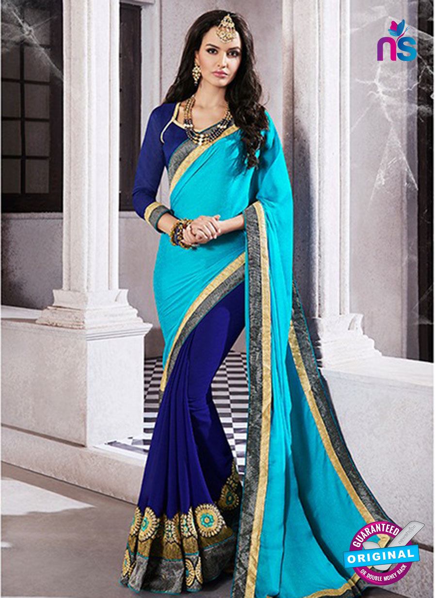 AZ 2048 Sky Blue and Blue jacquard Georgette Fancy Party Wear Saree