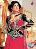 NS 12400 Pink and Black Embroidered Georgette Party Wear Straight Anarkali Suit
