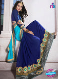 AZ 2048 Sky Blue and Blue jacquard Georgette Fancy Party Wear Saree Online