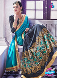 AZ 2051 Sky Blue and Grey jacquard Georgette Fancy Party Wear Saree Online