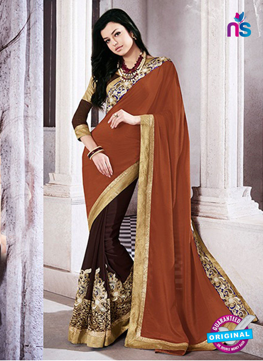 AZ 2052 Brown jacquard Georgette Fancy Party Wear Saree
