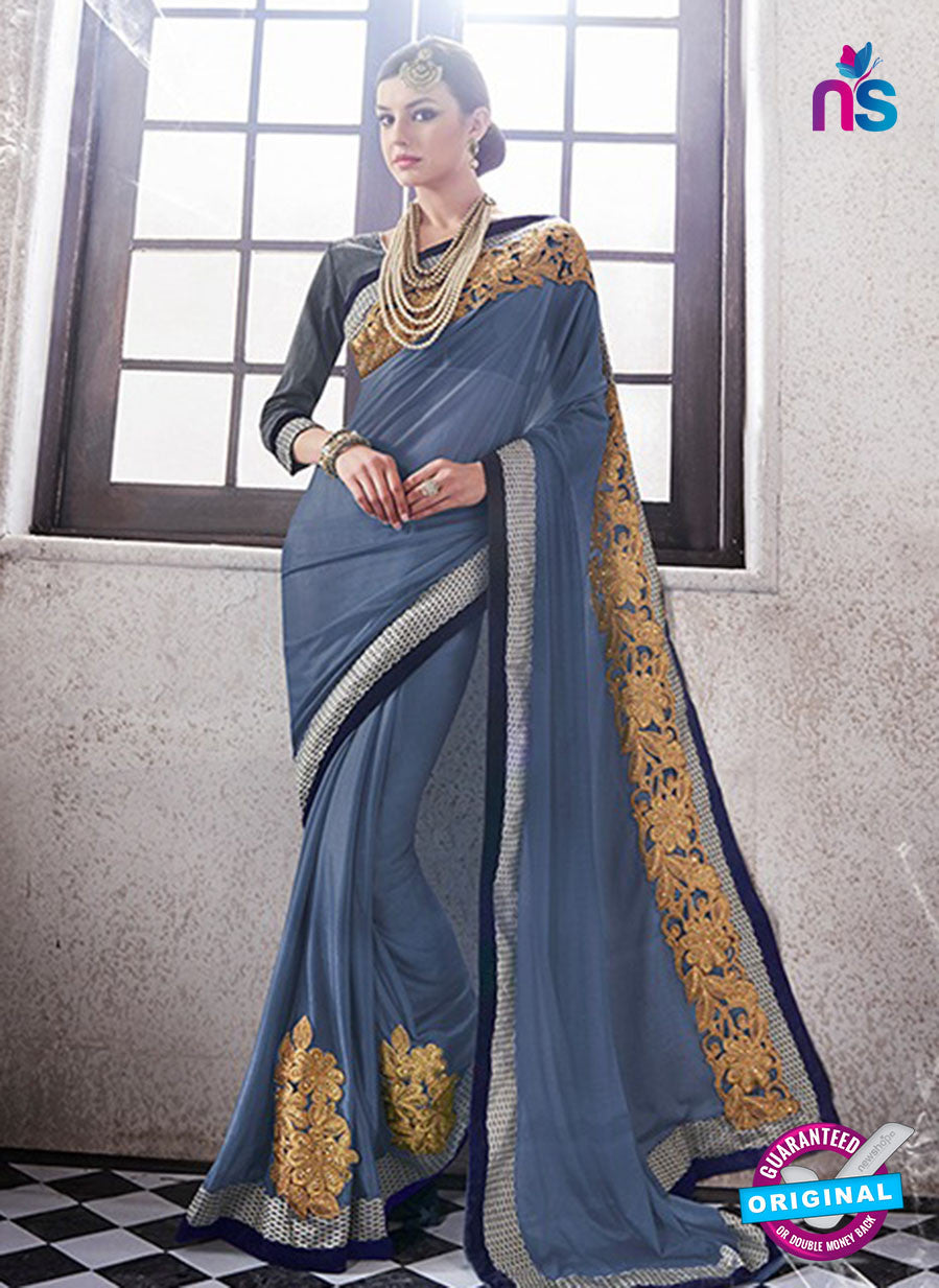 AZ 2053 Grey jacquard Georgette Fancy Party Wear Saree