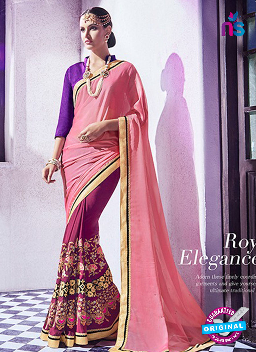 AZ 2054 Peach and Purple jacquard Georgette Fancy Party Wear Saree