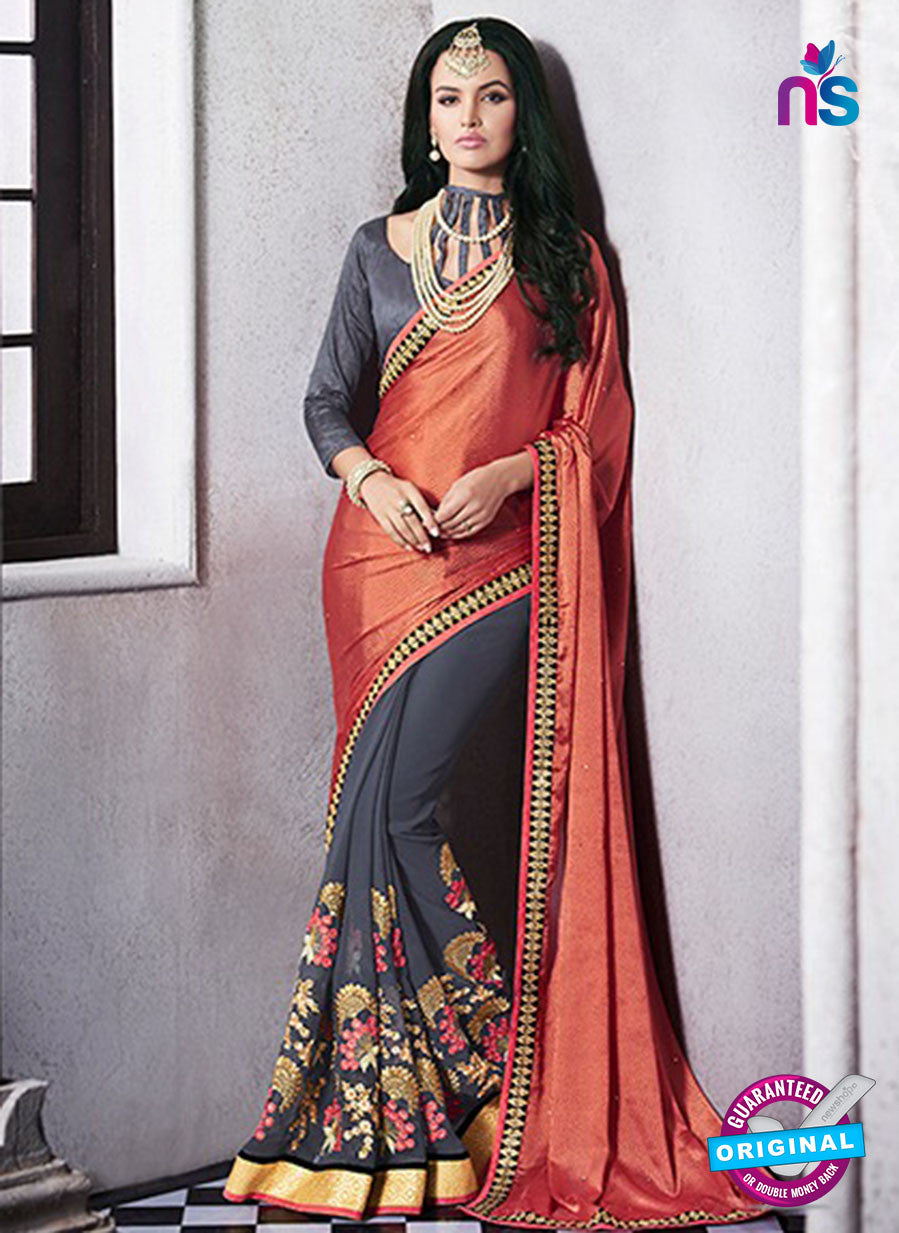 AZ 2055 Orange and Grey jacquard Georgette Fancy Party Wear Saree
