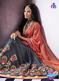 AZ 2055 Orange and Grey jacquard Georgette Fancy Party Wear Saree - Sarees - NEW SHOP
