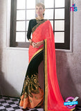 AZ 2056 Peach and Black jacquard Georgette Fancy Party Wear Saree