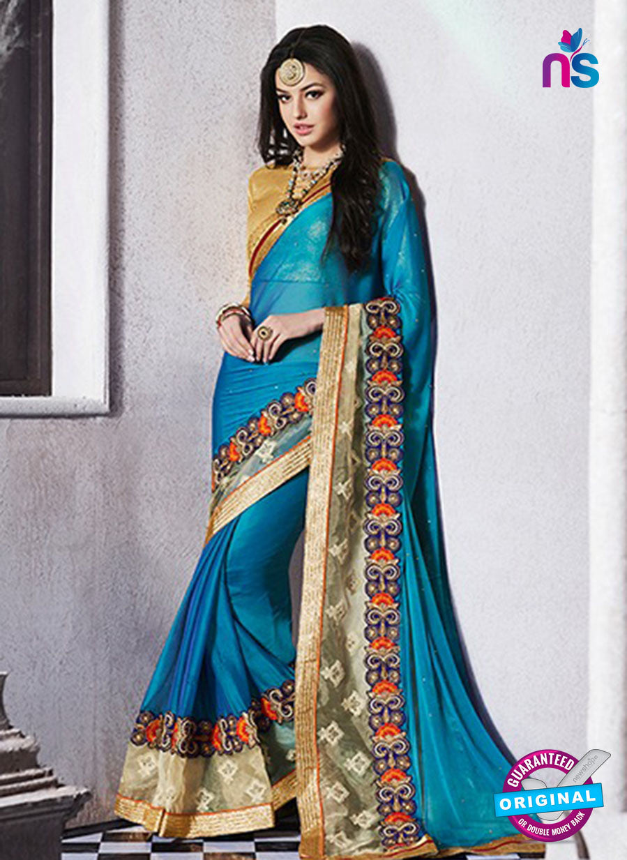 AZ 2057 Sky Blue jacquard Georgette Fancy Party Wear Saree