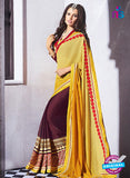 AZ 2058 Yellow and Brown jacquard Georgette Fancy Party Wear Saree