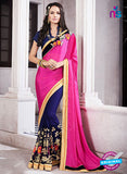 AZ 2059 Pink and Blue jacquard Georgette Fancy Party Wear Saree