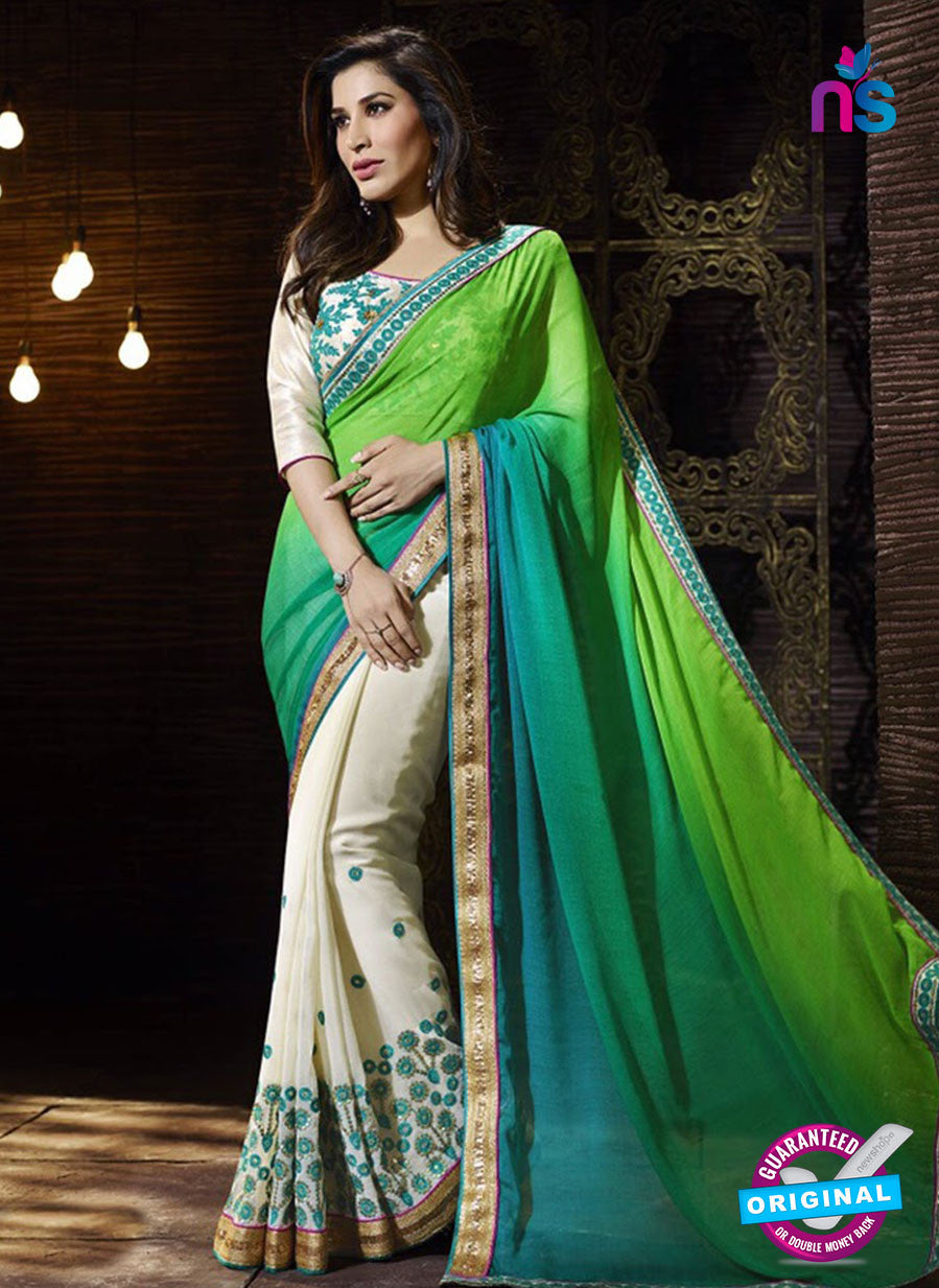 SC 13509 Green and White Designer Fancy Traditional Party Wear Saree