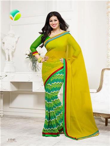 Vinay Fashion Star Walk 15545  Yellow and Green Georgette Party Wear Saree
