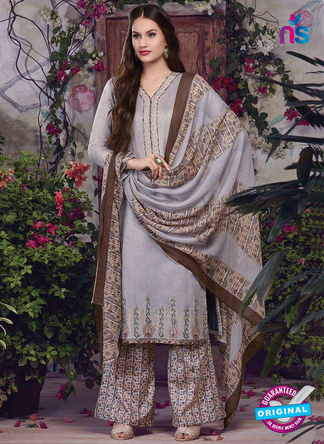 SC 13942 Grey and Brown Glace Cotton Fancy Designer Plazo Suit
