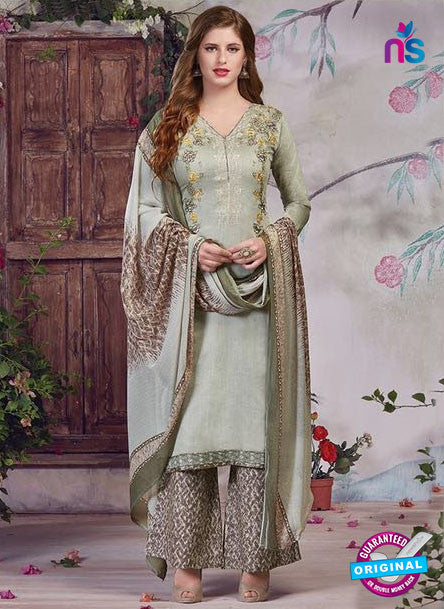 SC 13935 Grey Glace Cotton Fancy Designer Plazo Suit