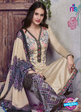 SC 13936 Beige and Purple Glace Cotton Fancy Designer Plazo Suit Online