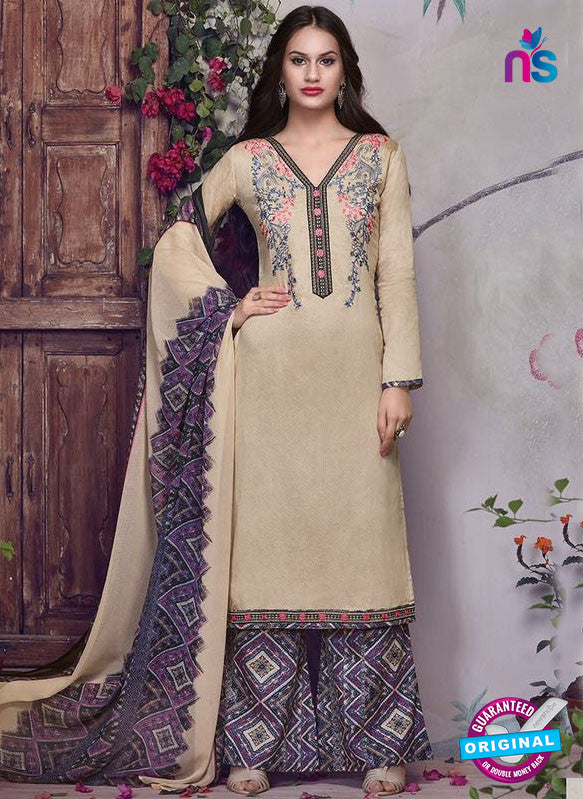 SC 13936 Beige and Purple Glace Cotton Fancy Designer Plazo Suit
