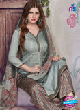 SC 13937 Grey and Brown Glace Cotton Fancy Designer Plazo Suit Online