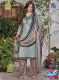 SC 13937 Grey and Brown Glace Cotton Fancy Designer Plazo Suit