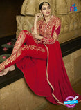 AZ 3307 Red Embroidery Georgette Plazo Suit