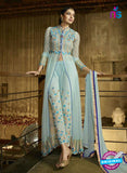 AZ 3312 Sky Blue Embroidery Georgette Plazo Suit