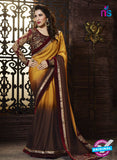 SC 13510 Yellow and Brown Designer Fancy Traditional Party Wear Saree