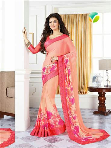 Vinay Fashion Star Walk  16990  Orange Party Wear Georgette Saree