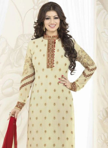 Avon 991 Beige & Red Color Georgette Designer Suit Online